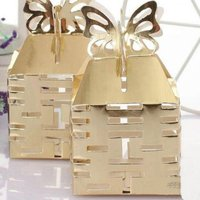 600pcs Lot Wedding Favor Folding Candy Box Packaging Gift Boxes Butterfly Gold Display