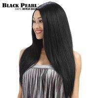 Черный жемчуг 24 inch полный шнурок человеческих волос парики для черный Для женщин длинные прямые волосы таможенные кружева парики модные ве