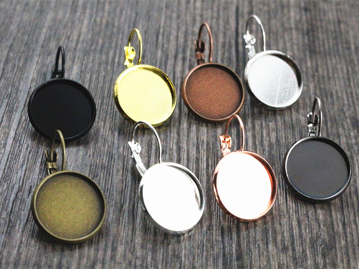 16mm 10pcs 9 Colors Plated French Lever Back Earrings Blank/Base,Fit 16mm Glass Cabochons,Buttons;Earring Bezels new 12mm 10pcs lot 14 colors plated french lever back earrings blank base fit 12mm glass cabochons buttons earring bezels