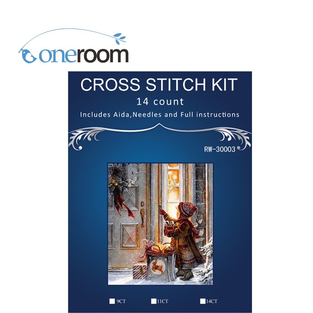 girl pull cart in big snow,Counted Cross Stitch 14CT Cross Stitch Sets Wholesale cartoon Cross-stitch Kits Embroidery Needlework