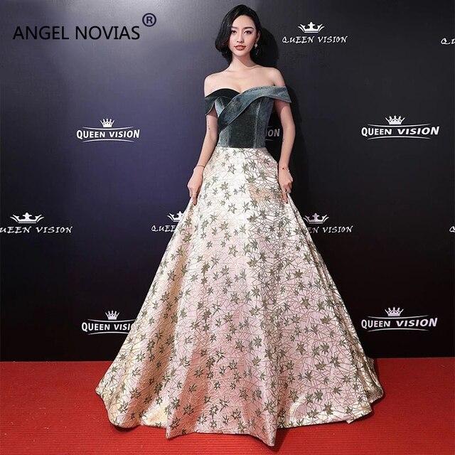 01c55549c Angel Novias Long A Line Tapis Rouge Red Carpet Celebrity Dresses 2019  Spring Lace Up Floor Length Evening Prom Dress