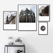 Church Cathedral Wall Art Canvas Painting Nordic Poster And Print Scandinavian Landscape Wall Picture For Living Room Home Decor(China)