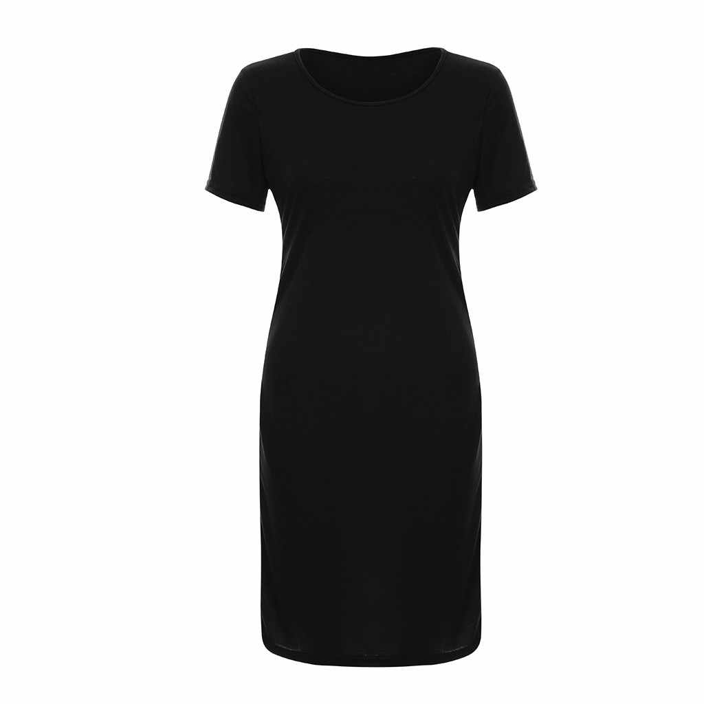 Women'S Casual Slim Pencil Style Dress Summer New Solid Color Short-Sleeved Round Neck Knee-Length Dresses For Parties #A