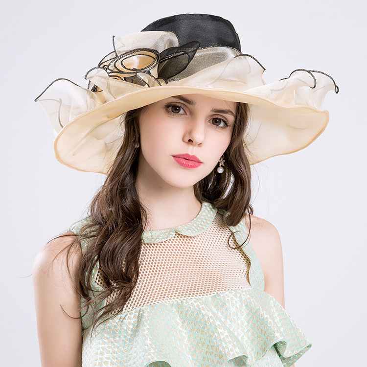 68d5175f48c 2018 Summer Hats Wide Large Brim Elegant Flower Lady Church Hats Fashion  Cloche Aristocratic Sombreros White Kentucky Derby Hats-in Sun Hats from  Women s ...