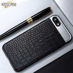 KISSCASE Mode Téléphone étuis pour iPhone 7 7 Plus Étui En Cuir De Luxe En Métal Couverture Arrière Hybride Pour iPhone X étui pour iPhone 6 6 S