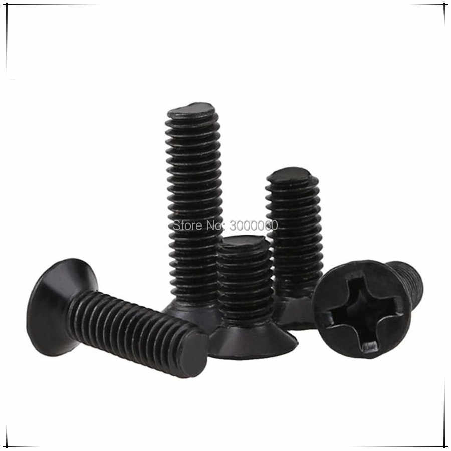 M2 M2.5 M3 Harden Steel Black Zinc Plated Phillipss Cross Recessed Countersunk Head Machine Screws 1000pcs/lot
