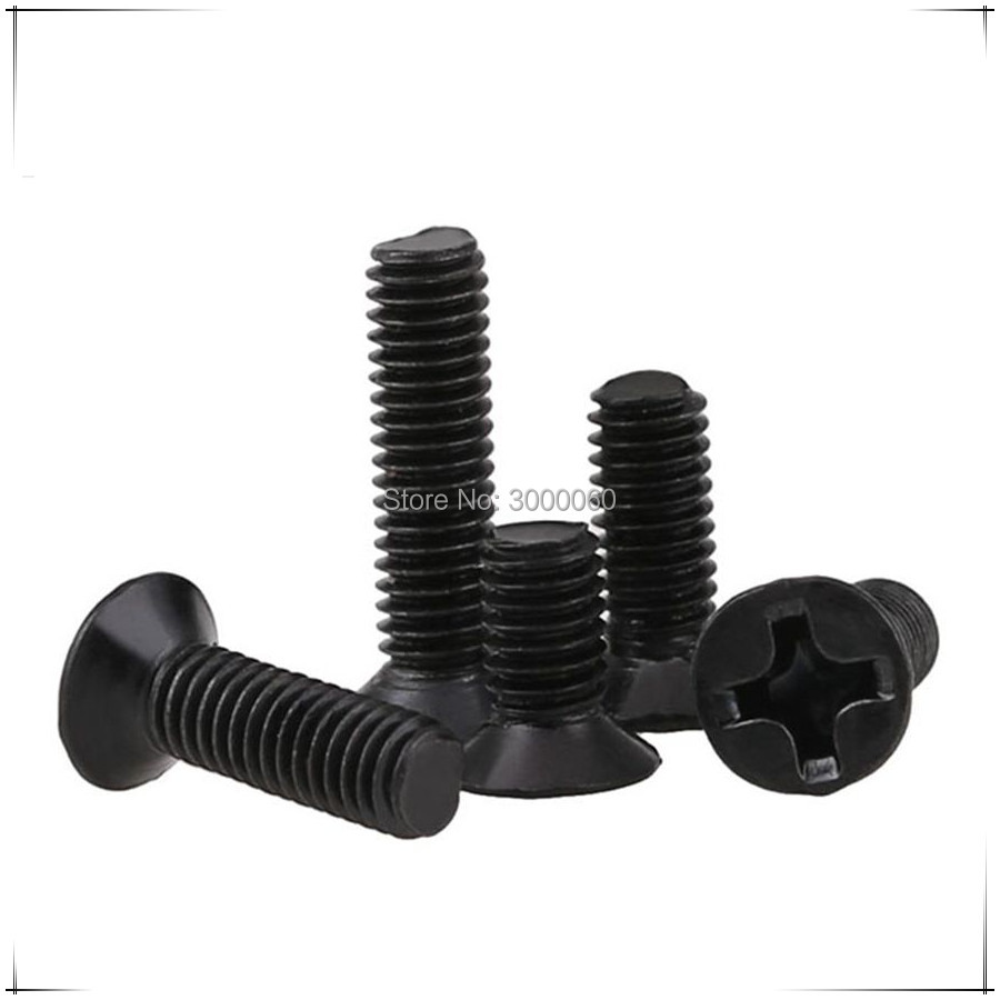 M2 M2.5 <font><b>M3</b></font> Harden Steel Black Zinc Plated Phillipss Cross Recessed Countersunk Head Machine Screws <font><b>1000pcs</b></font>/lot image