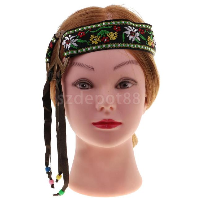 Hippie Headband Peace Sign Flower Embroidery Tassel Hairband Hippy