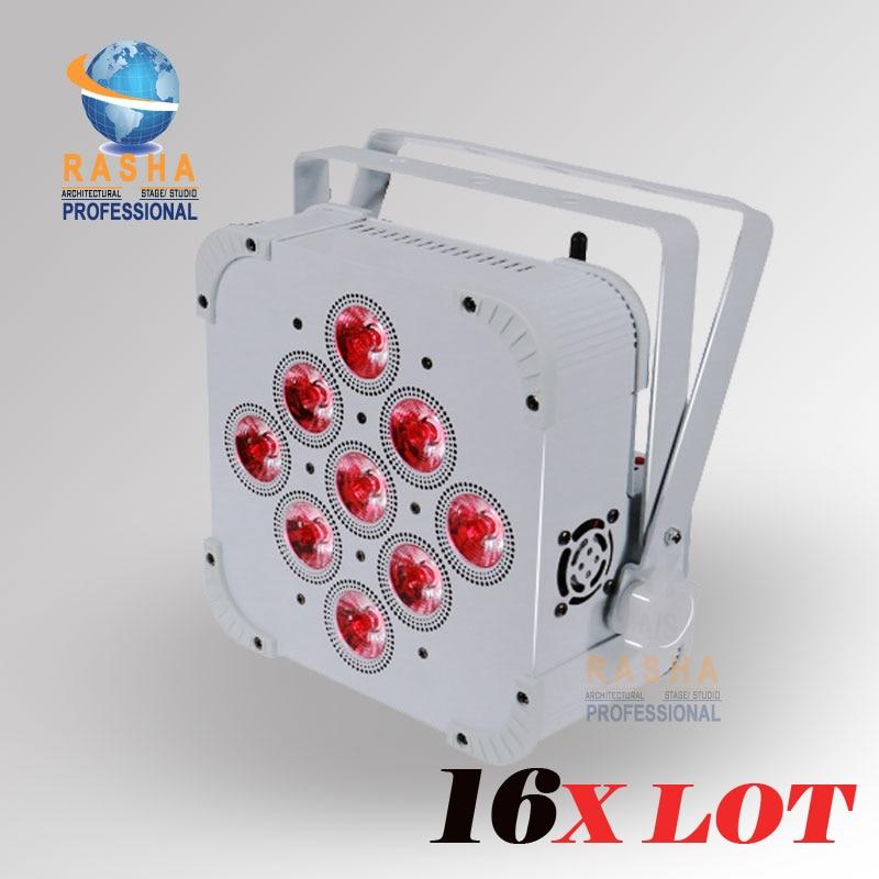 16X LOT Rasha 9pcs*18W 6in1 RGABW+UV Built in Wireless LED Flat Par Light,LED Flat Par Can,Disco Event Stage Light