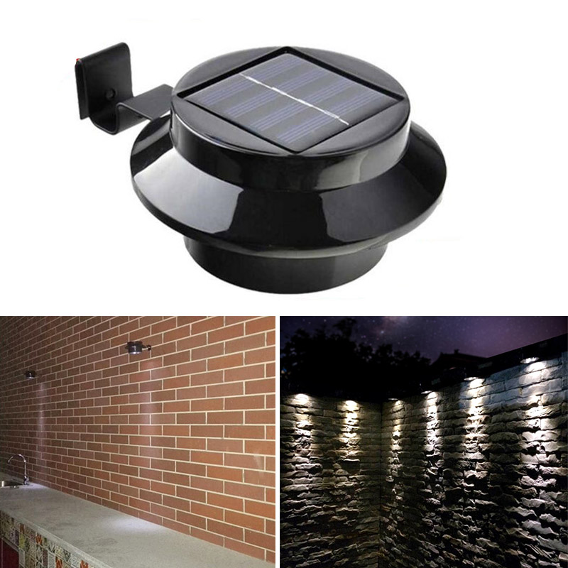 Outdoor Solarbetriebene 3-LED Walllight Wall Pfad Landschaft Berg Garden Zaun Gutter Licht Lampe -- M25