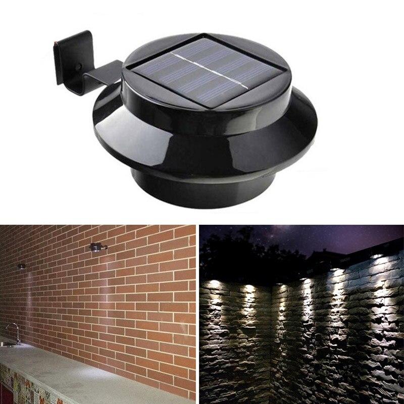 Solar al aire libre impulsado 3-led walllight pared camino paisaje montaje jardín Gutter lámpara luz-M25