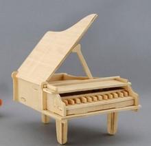 032018 Handmade wooden music box diy gift grand piano birthday present