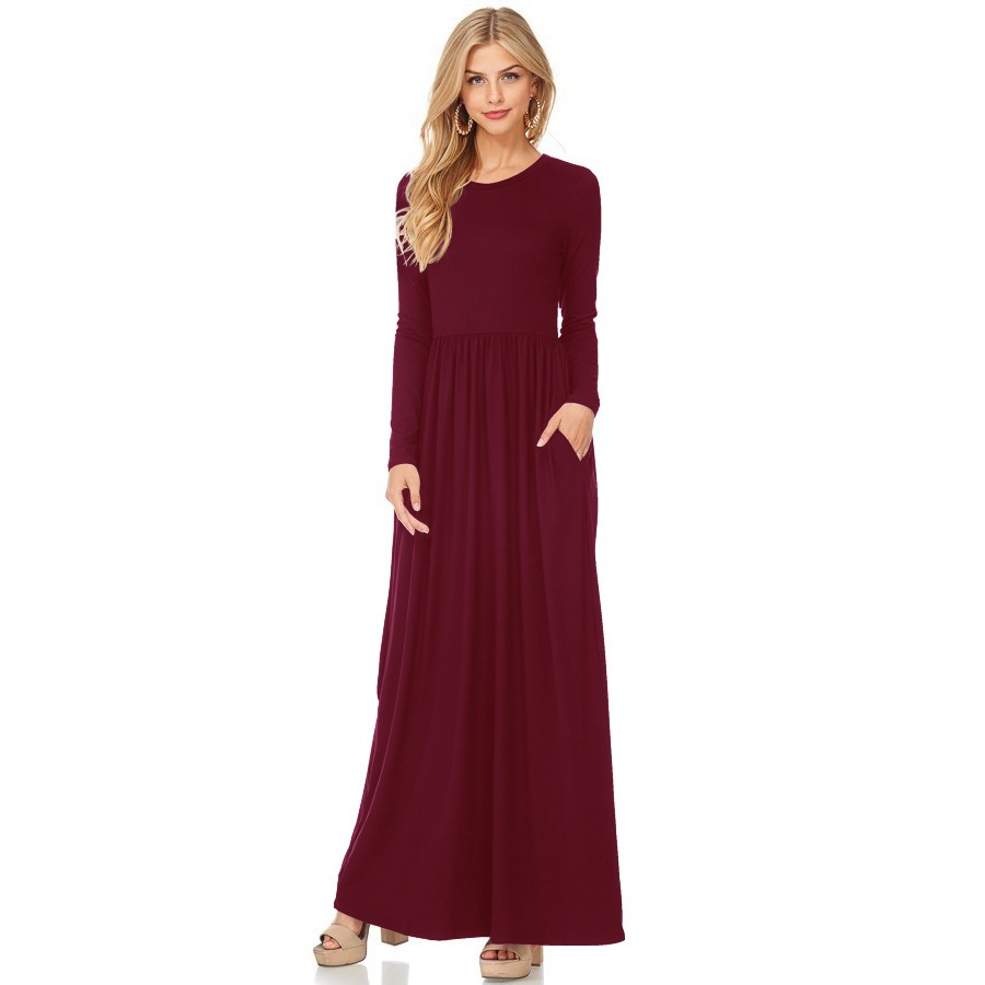 fb8ffe1ebd2 Summer Casual Long Dresses For Women Short Sleeve Pocket Floor Length Maxi  Dress Women O Neck Solid Dress Female Vestidos-in Dresses from Women s  Clothing ...