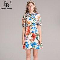 Yüksek Kaliteli Yeni 2017 Moda Pist Tasarımcısı Drss kadın Turn down Yaka Düğmesi Rahat Çiçek Baskı Elbise