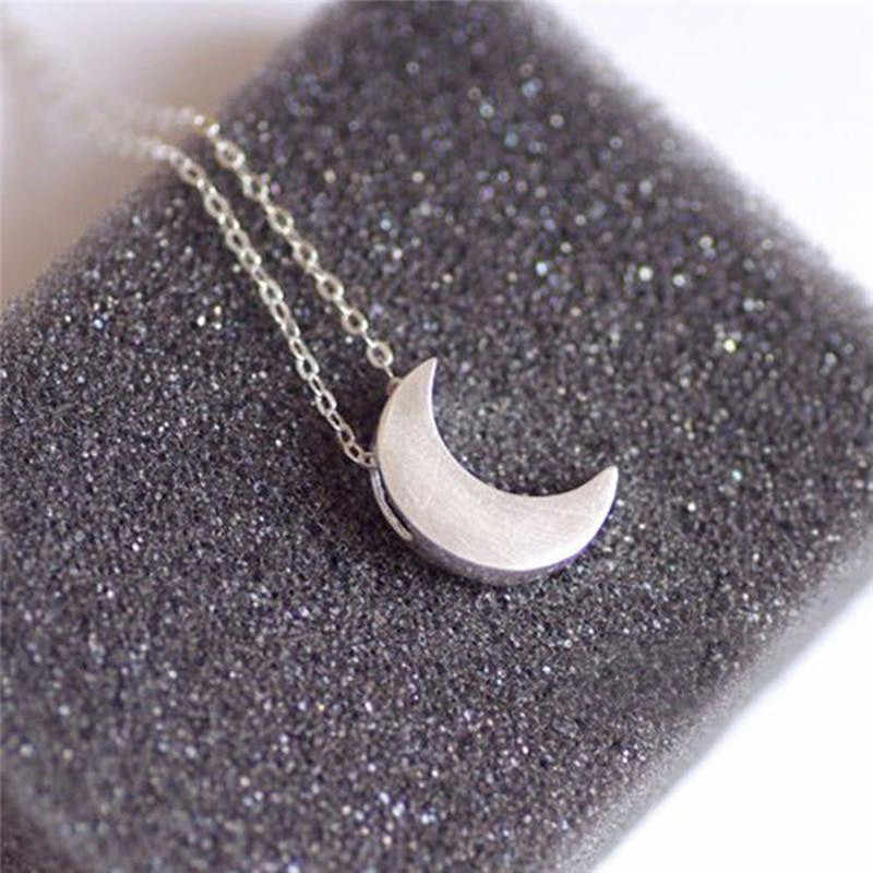 New  fashion women jewelry Moon Silver Gold Long Necklace  Solid Chain Pendant Necklace