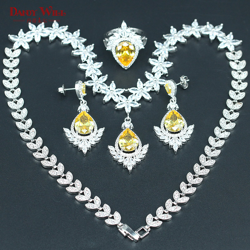 Brilliant 925 Silver Color Wedding Jewelry Yellow Zircon White Crystal Jewelry Sets for Women Necklace Earrings Ring Pendants