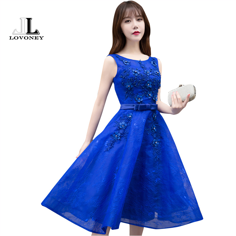 LOVONEY Short Evening Dress 2019 A-Line O-Neck Lace Dress Formal Prom Party Dresses Evening Gown Sexy Lace-Up Open Back T417