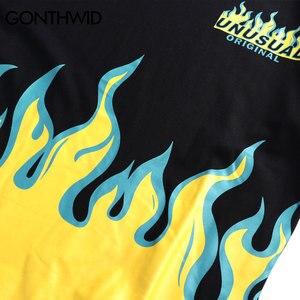 Image 5 - GONTHWID Hip Hop Fire Flame Gedrukt T shirts Streetwear 2019 Zomer Mannen Toevallige Korte Mouwen T shirts Mannelijke Mode Katoenen Top tees