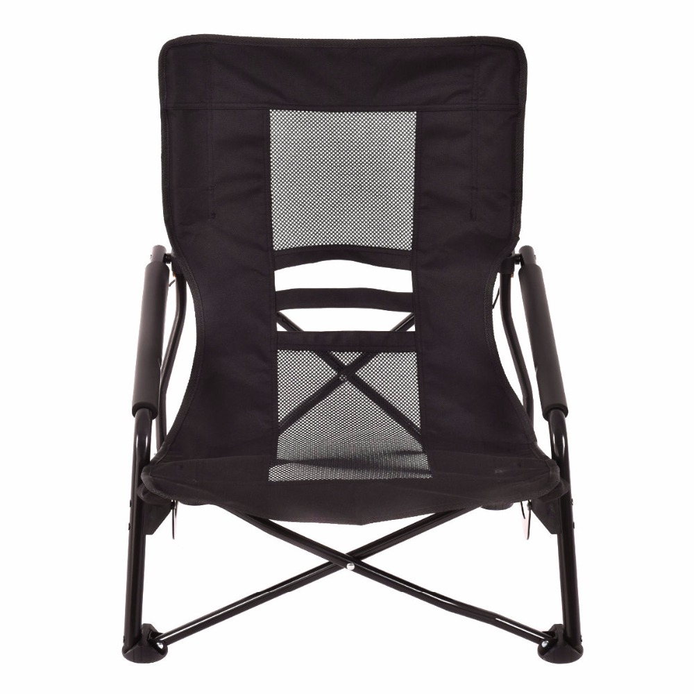 Goplus Outdoor High Back Folding Beach Chair Oxford Camping Furniture  Portable Mesh Chair Black Seat Fishing Stool OP3079 In Beach Chairs From  Furniture On ...