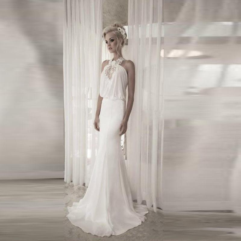Sexy Halter Backless Wedding Dresses Off The Shoulder vestido de noiva curto Appliques Wedding Gowns A