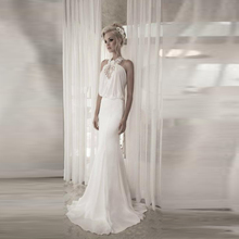 Sexy Halter Backless Wedding Dresses Off The Shoulder vestido de noiva curto Appliques Wedding Gowns A Line Chiffon Wedding Gown