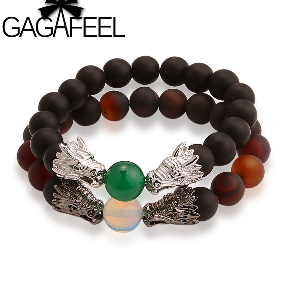 GAGAFEEL Men Bracelets Double Dragons Hear Black Stone Beads European Style Beads Bracelet Bangle Adjustable Free shipping
