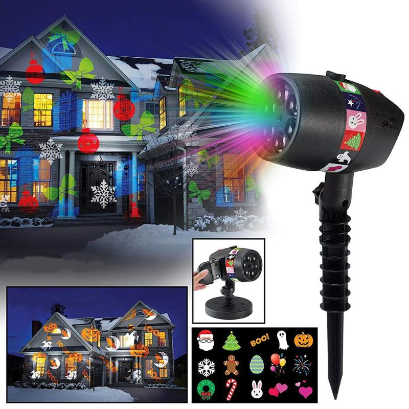 12 Slides 7 LED Laser Projector Light USB Charging Christmas 15LM stage light Halloween Holiday Outdoors