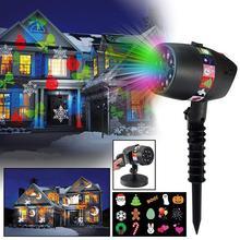 12 слайдов светодио дный 7 светодиодный лазерный проектор свет usb зарядка Рождество 15LM свет этапа Хэллоуин Праздник на открытом воздухе украшения лампа