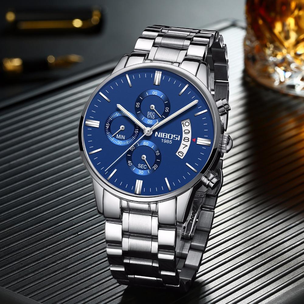 Relojes de hombre NIBOSI Relogio Masculino, relojes de pulsera de cuarzo de estilo informal de marca famosa de lujo para hombre, relojes de pulsera Saat 28