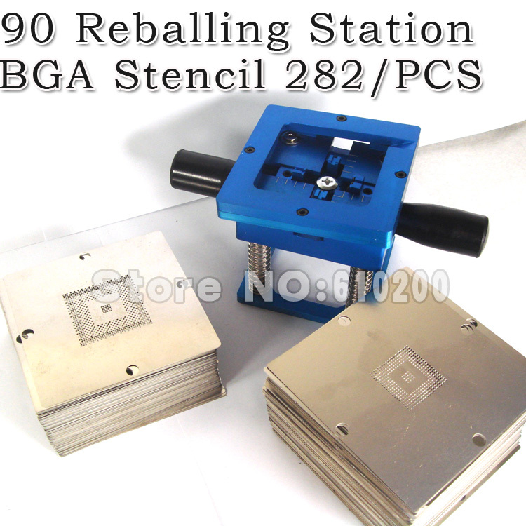 2014 Newest BGA 282/pcs 90*90mm BGA stencils templates Notebook  and desktop + Handgrip BGA Reballing Station 90mm game console stencils 90mm 90mm for ps3 and xbox360 with reballing station
