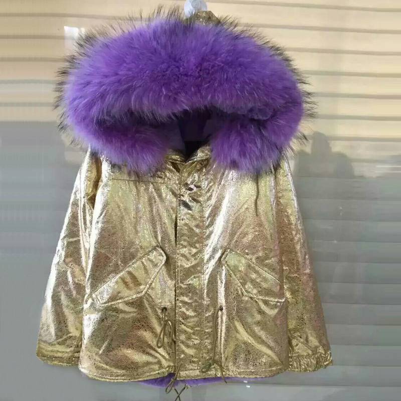 Elegant Slim Leather gold foil leather short winter parka long fur jacket faux fur