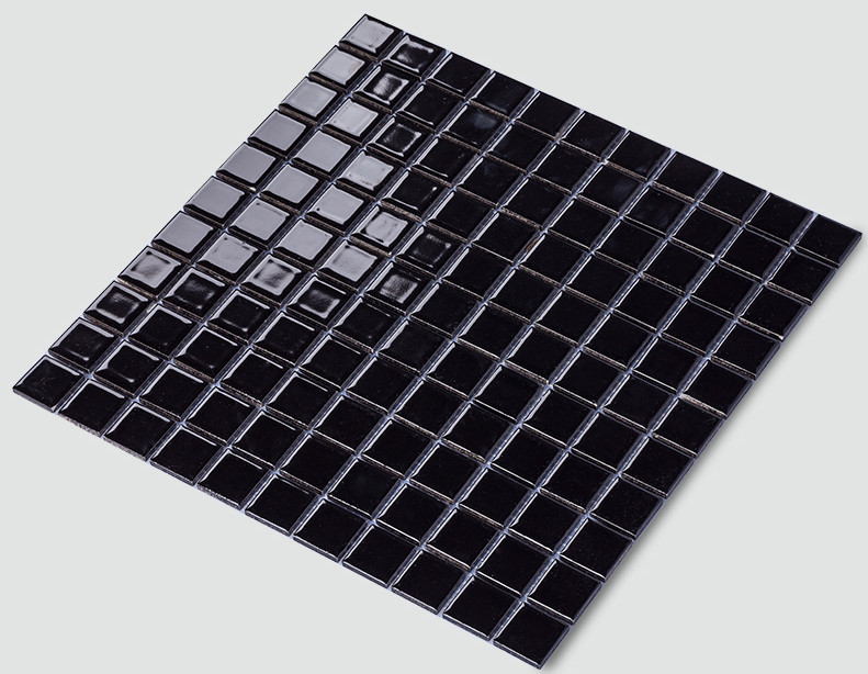 Black Porcelain Mosaic Tile For Bathroom Shower Wall Floor