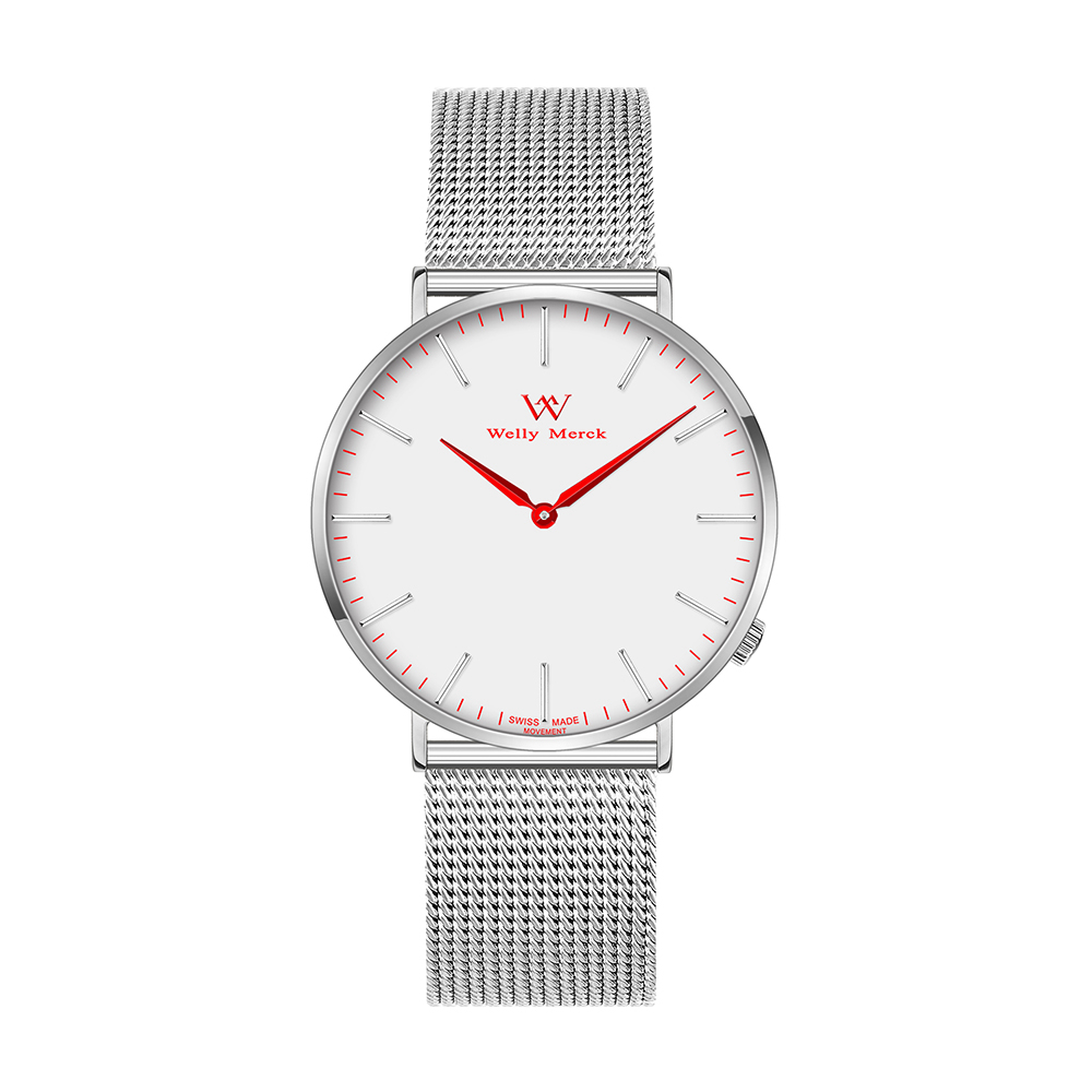 Welly Merck Silver Stainless Steel Strap Analog 30m Waterproof Women's Quartz Watch цена и фото