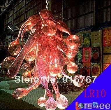 LR010-Free expédition lustre éclairage rose bouche soufflé verre