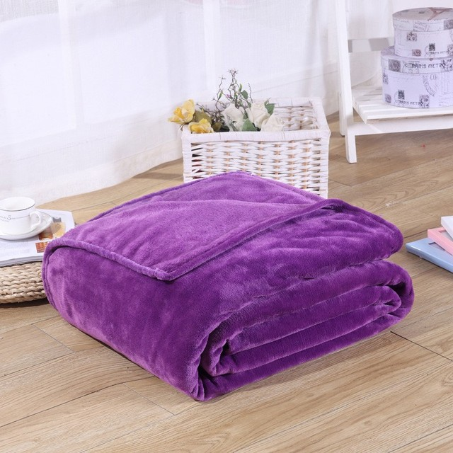 Solid Color Flannel Coral Fleece Blanket Super Soft Plaid Coverlet Sofa Cover Winter Warm Sheets Easy Wash Faux Fur Blankets