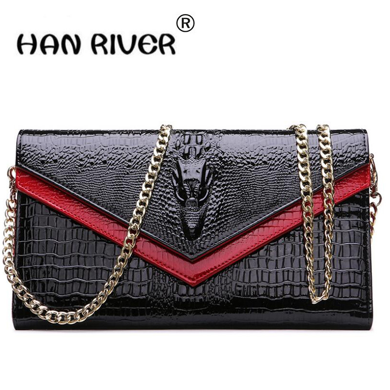 HANRIVER Crocodile Genuine cow Leather Bag Handbag Women Messenger Bag Famous Brands Crossbody Bag For Women Shoulder Bag Chain women crocodile embossed bag handbags 100% genuine cow leather for women handbag flaps shoulder tote messenger bag famous brands