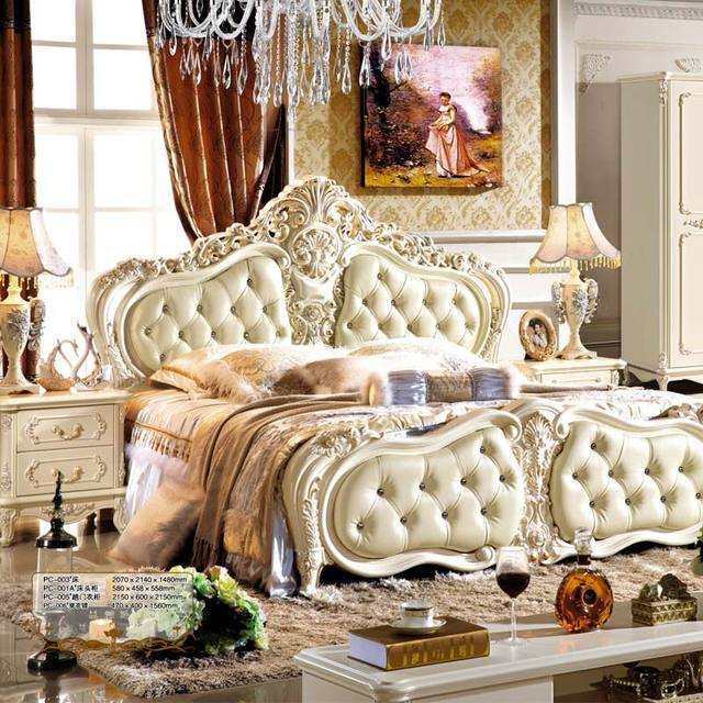 French style luxury double king size bed designs bedroom furniture ...