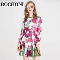 2018 Bochoni новый цветочный Круглый Воротник Плиссированные дизайн праздничное платье