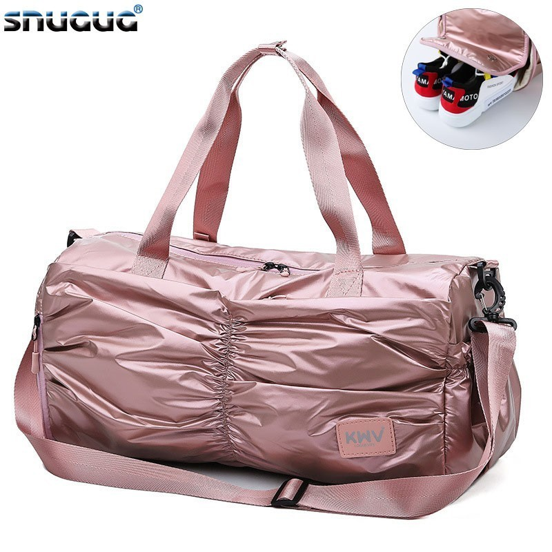 SNUGUG New Nylon Gym Bag With Shoe Compartment Waterproof Yoga Mat Bag For Women 2019 Big Mini Travel Ladies Handbags Crossbody