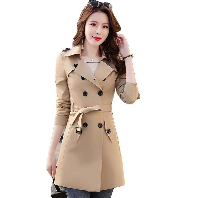 Women's   Trench   coat 2019 spring autumn new women's wild large size self-cultivation thin Lace windbreaker double-breasted