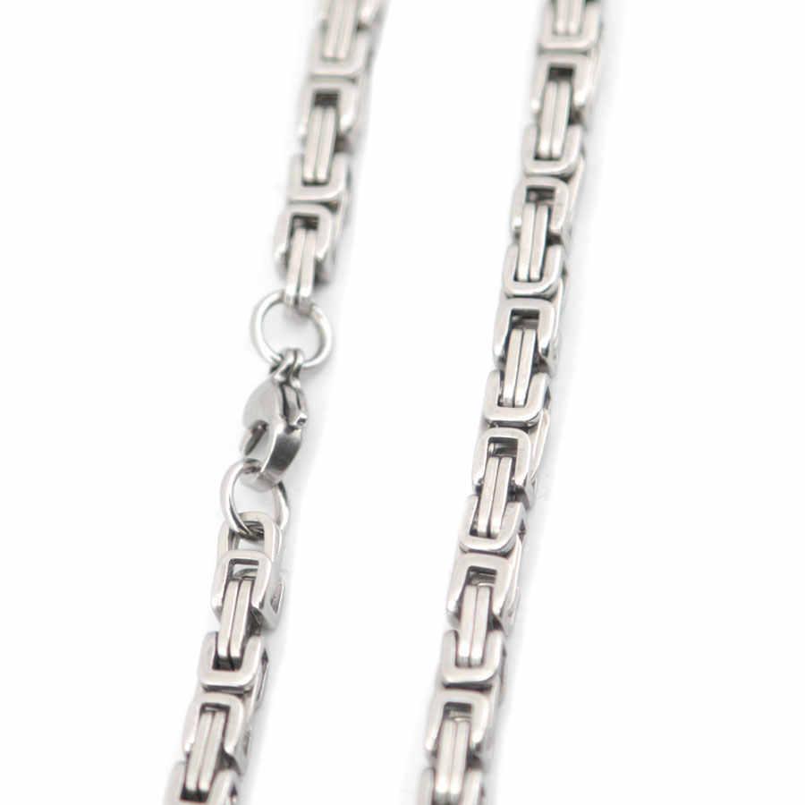 5mm 22 pouces hommes chaîne ton argent acier inoxydable byzantin boîte lien collier