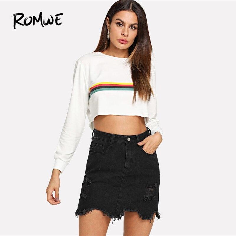 b628df82 US $19.98  ROMWE czarny dorywczo zgrywanie podziel spódnica Denim 2019  wiosna w połowie pasa proste krótkie spódniczki dżinsowe kobieta zwykły ...