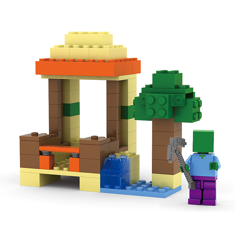 Minecraft My World 4 IN 1 Craft Educational Toys Village Tree House  Building Blocks Model kits Hobbies kid Gift brick my worlds-in Blocks from  Toys &