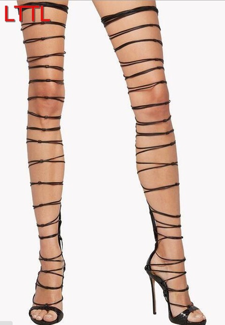 89fae44859 Women Lace Up Sandals Boots Over Knee Thigh High Gladiator Boots Thin Heel  Over Knee Black Snake Print Leather Caged Boots