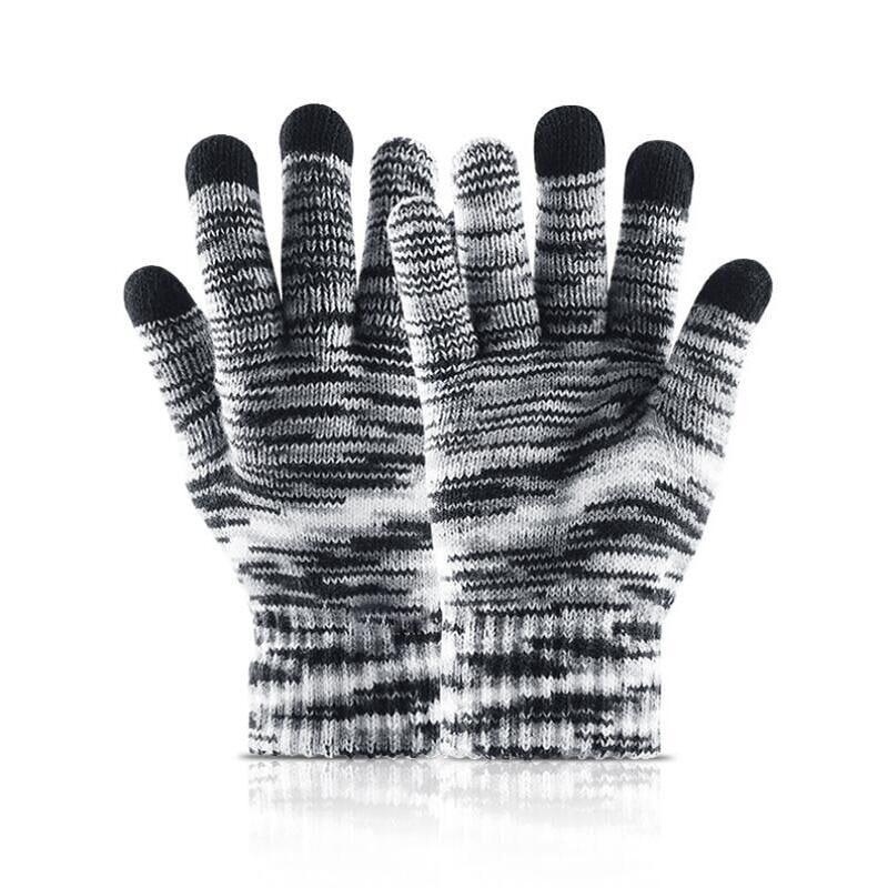 Knitting Gloves Men 39 s Winter Couple Models Warm Wool Gloves Plus Velvet Students Korean Version of the Gradient in Men 39 s Gloves from Apparel Accessories