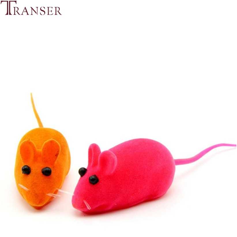 Transer ราคาถูก 3 pcs สุ่มสีหนูเมาส์ของเล่น Squeak Sound Interactive ของเล่นสำหรับแมว 80710