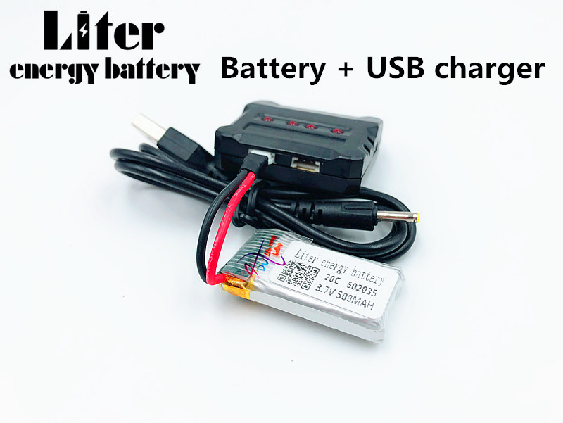 602035 3.7V 500mAh Lipo battery For Hubsan h107d MJXRC F47 Difeida DFD F180 FY310B m62R 3.7 V 500 mah Lipo Battery + USB charger|Replacement Batteries| |  - title=