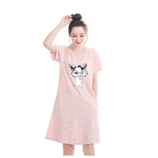 bb4bc8bbcaa7 Hot Sale Fashion Women Cotton Nightgowns Sleepshirts Summer Home Dress  Sleepwear Loose Nightdress Indoor Clothing M-5XL