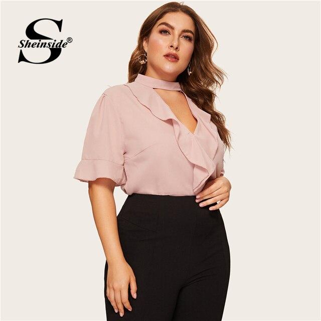 Sheinside Plus Size Pink Flounce Sleeve Ruffle Blouse Elegant Top Female Summer Tops for Women 2019 Keyhole Neckline Blouses 4