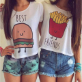 Fashion Women T shirt 2017 New Cute Hamburg Fries Printed T-shirt Best Friends Short Sleeve Tops Graphic Tee Shirt Femme T shirt